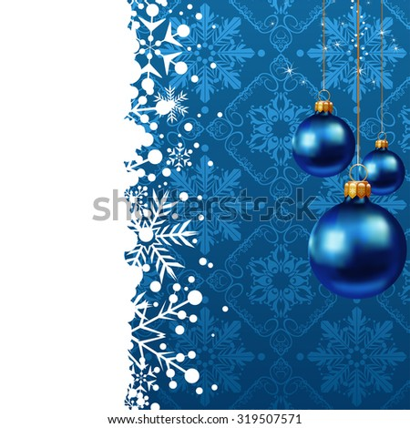Wallpaper background. Evening balls. Christmas Card. Xmas Wallpaper. Christmas Background. Christmas Decoration Ideas. Blue background. Vector