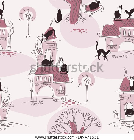 wallpaper. cat walking on the roof of the house. pastel colors