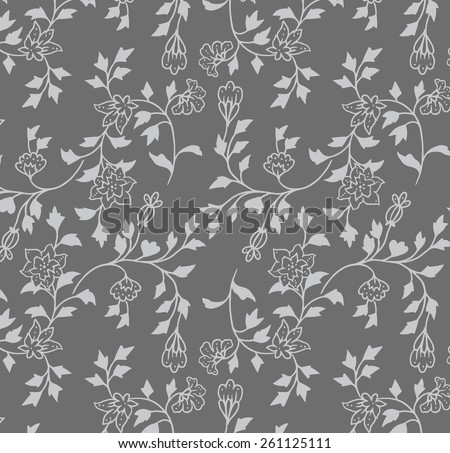 Wallpaper gray background with small flowers. - stock vector