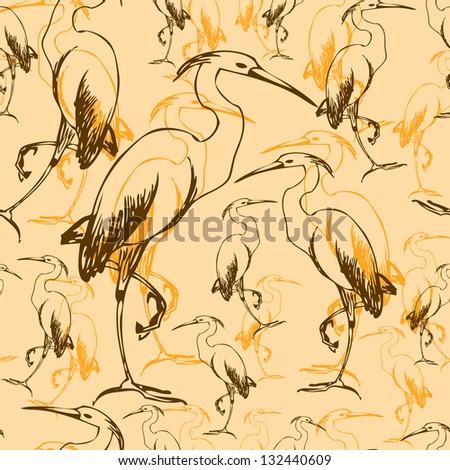 wallpaper heron double - stock vector