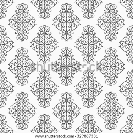Wallpaper in classic style. Curly seamless damask pattern. Vintage vector background.