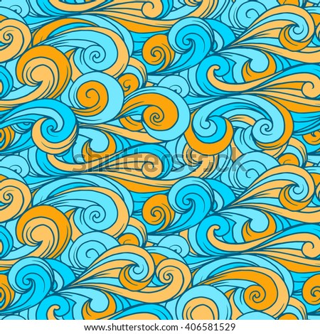 Wallpaper in the boho style. Seamless vector ornament, lines pattern background, doodle art.