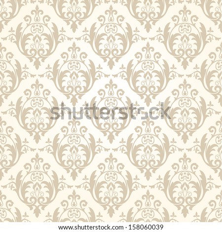 Wallpaper in the style of Baroque. A seamless vector background.Beige and white texture. - stock vector