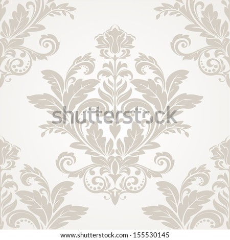 Wallpaper in the style of Baroque. A seamless vector background.Brown and white texture. - stock vector