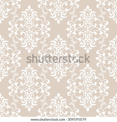 Wallpaper in the style of Baroque. A seamless vector background. Damask floral pattern - stock vector