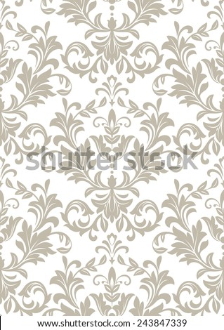 Wallpaper in the style of Baroque. A seamless vector background. Floral ornament. Damask  pattern. - stock vector