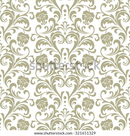 Wallpaper in the style of Baroque. A seamless vector background. Floral ornament with roses . - stock vector
