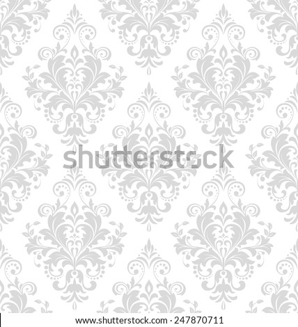 Wallpaper in the style of Baroque. A seamless vector background. Gray and white floral ornament. Damask pattern. - stock vector