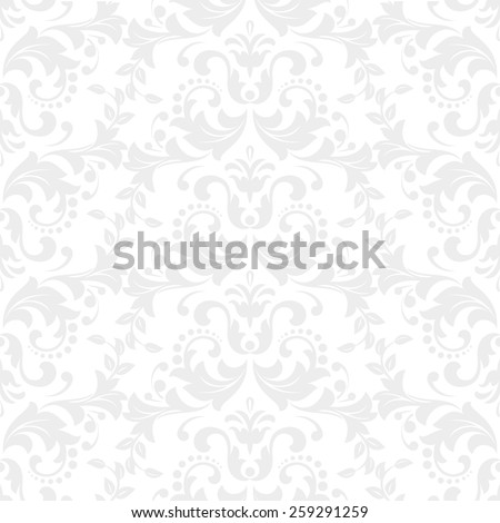 Wallpaper in the style of Baroque. A seamless vector background. Gray and white ornament. - stock vector