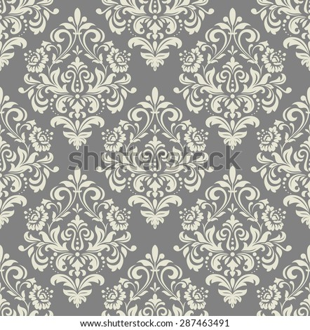 Wallpaper in the style of Baroque. A seamless vector background. Gray and white texture. Floral ornament. - stock vector