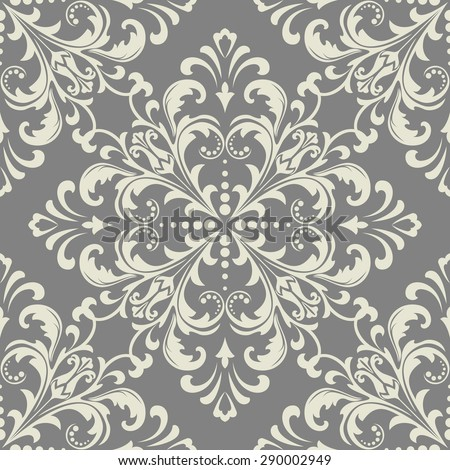 Wallpaper in the style of Baroque. A seamless vector background. Gray and white texture. Floral ornament - stock vector
