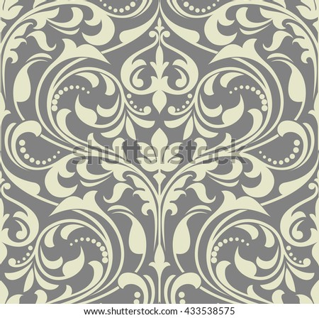 Wallpaper in the style of Baroque. A seamless vector background. Gray  texture. Floral ornament. - stock vector