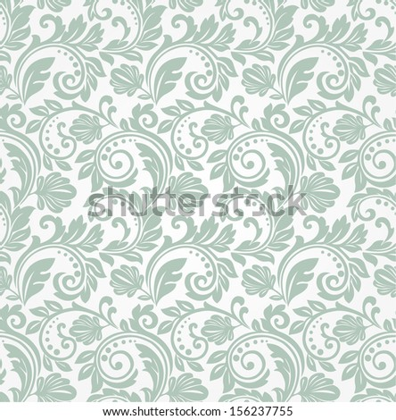 Wallpaper in the style of Baroque. A seamless vector green background. - stock vector