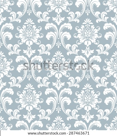 Wallpaper in the style of Baroque. Seamless vector background. Damask floral pattern.   - stock vector