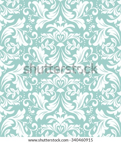 Wallpaper in the style of Baroque. Seamless vector background. Damask floral pattern. Blue and white ornament. - stock vector