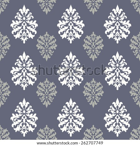 Wallpaper in the style of Baroque. Seamless vector background. Gray and white ornament. Damask pattern. - stock vector