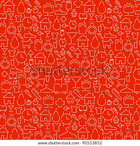 wallpaper of small white various icons on red - stock vector