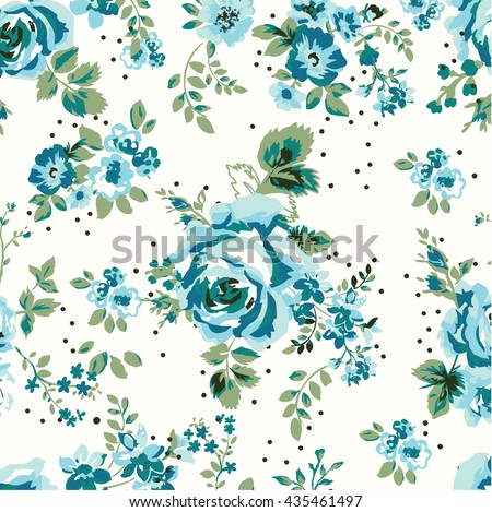 Wallpaper Seamless Vintage Blue Flower Pattern