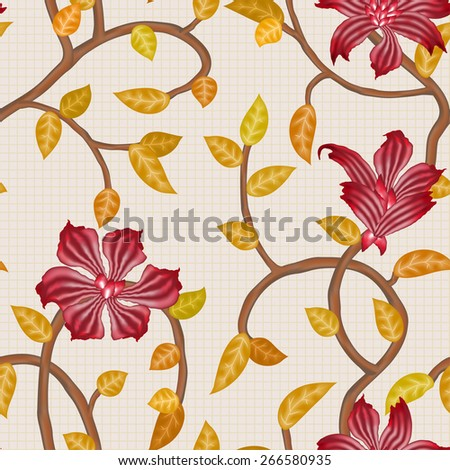 wallpaper seamless vintage red flower pattern on grid  background - stock vector