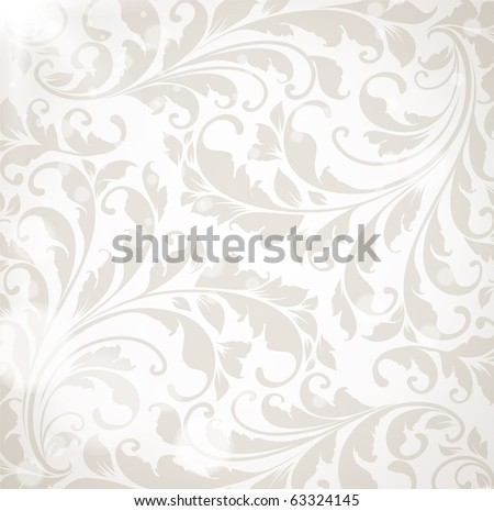 Wallpaper with floral ornament with leafs and flowers for vintage design, Vector retro background - stock vector