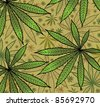 Wallpaper with green leavs of cannabis - stock vector