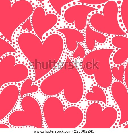 Wallpaper with red hearts for Valentines day - stock vector