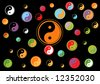 Wallpaper with ying and yang symbols.. - stock vector