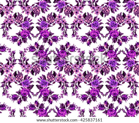 Wallpapers or textile. Color circle  bouquet of flowers (roses, chamomile and cornflowers) using Ukrainian embroidery elements.Violet and pink tones. Seamless. Pattern. Can be used as pixel-art. - stock vector