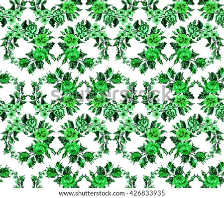 Wallpapers or textile. Monochromatic green  circle  bouquet of flowers (roses, chamomile and cornflowers) using traditional Ukrainian embroidery elements. Seamless. Pattern. Can be used as pixel-art. - stock vector