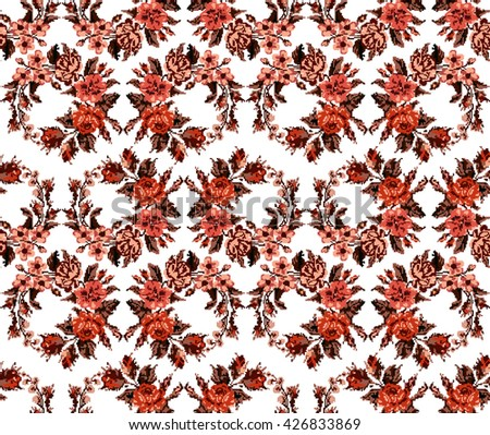Wallpapers or textile. Monochromatic red circle  bouquet of flowers (roses, chamomile and cornflowers) using traditional Ukrainian embroidery elements. Seamless. Pattern. Can be used as pixel-art. - stock vector