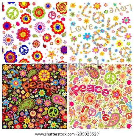 Wallpapers with hippie symbolic - stock vector