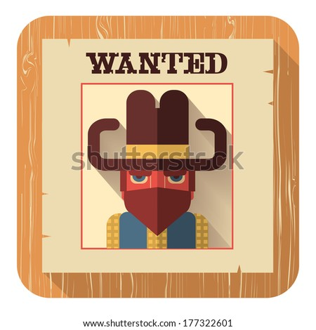 Wanted poster with bandit face.Vector icon of flat design style illustration - stock vector