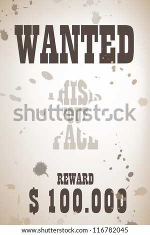 Wanted poster with cowboy shape - stock vector
