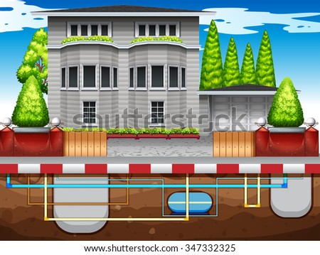 Waper pipes under the house illustration