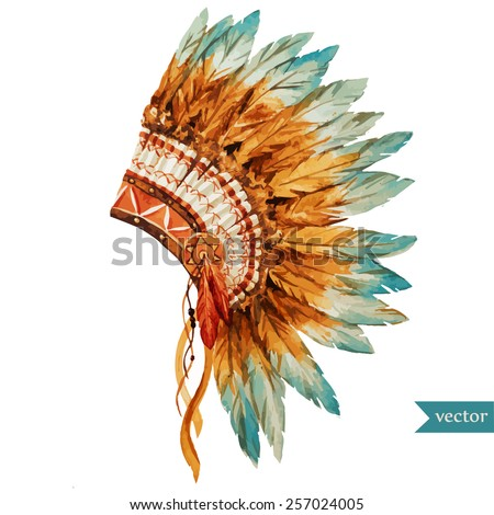 war bonnet,watercolor, boho, Indian, feathers, flowers, headpiece - stock vector