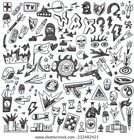 war - doodles set - stock vector