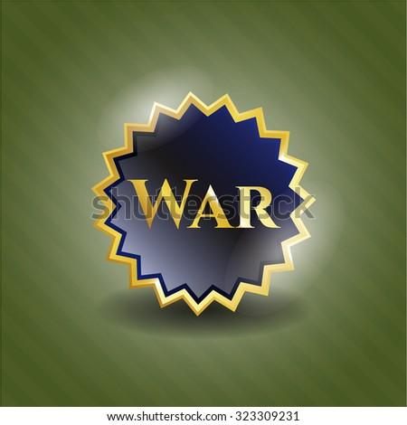 War gold shiny badge - stock vector