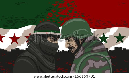 War of Syria. - stock vector
