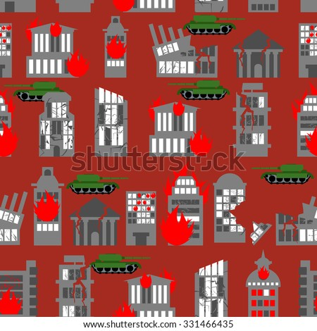 War seamless pattern. Ruined city. Tanks in town. Skyscrapers and public buildings destroyed. Background to danger.