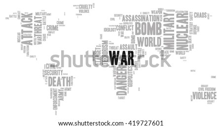 War word cloud in a shape of world map silhouette