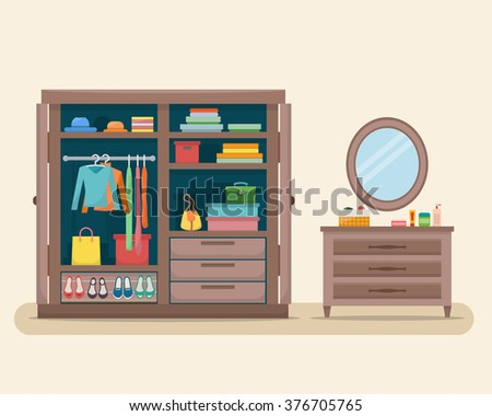 Wardrobe for cloths with boudoir and mirror. Closet with clothes, bags, boxes and shoes. Flat style vector illustration. - stock vector