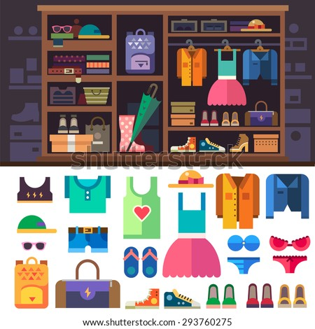 Wardrobe, items of personal style for women. Women's clothes and shoes for sports and rest.  Closet with shelves and drawers. Vector flat illustration - stock vector