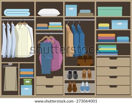 Wardrobe room full of men's cloths. - stock vector