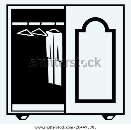 Wardrobe with clothes. Image isolated on blue background - stock vector