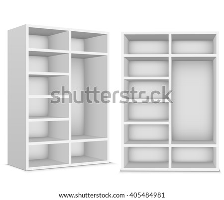Wardrobe with empty shelves on a white background - stock vector