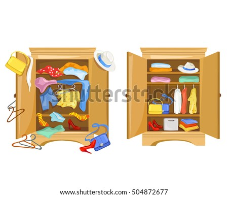 Wardrobes With Clothes Tidy And Clutter In The Closet Vector Illustration