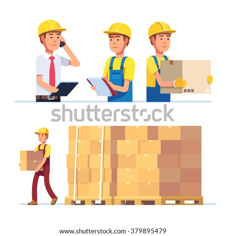 Warehouse and delivery workers. Foreman, manager and delivery boy. Modern flat style vector illustration isolated on white background. - stock vector