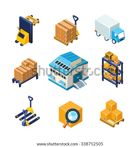 Warehouse and Logistics Equipment Icon Set. Flat Vector Illustration Collection - stock vector