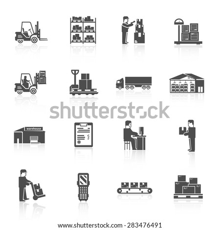 Warehouse black icons set with forklift cart pallet isolated vector illustration - stock vector