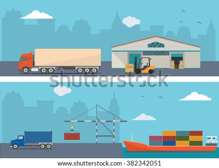 Warehouse building and shipping process - stock vector